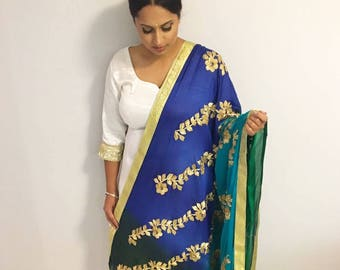 Four Tone Green and Blue Chinnon Statement Dupatta - Indian Jewelry, Indian Bridal Veil, Green Statement Dupatta, Blue Statement Chunni