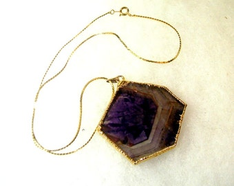 Vintage Hand Crafted Fluorite Cross-Section Pendant on Gold Tone Chain - No. 1641