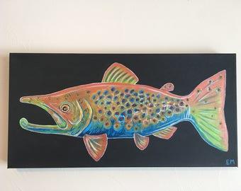 Brown Trout Original Painting 10 x 20 x 1.5