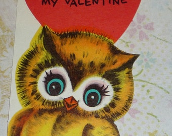 Vintage 1950s Owl  Hoot and Howl Valentine Card