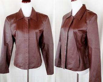 Vintage Soft Brown Leather Clio Jacket. Medium