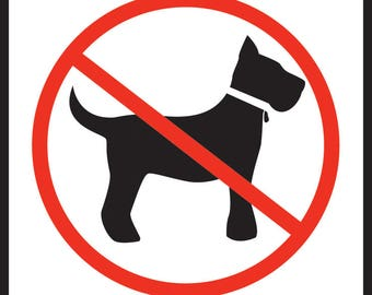 """No Dogs Allowed Aluminum Dog Sign - 9"""" x 12"""""""