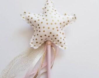 Ruffled gold polka dot fairy wand