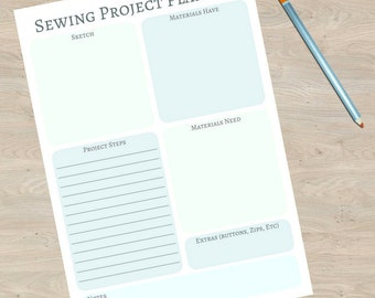 Mint Sewing Project Planner Set Digital Download