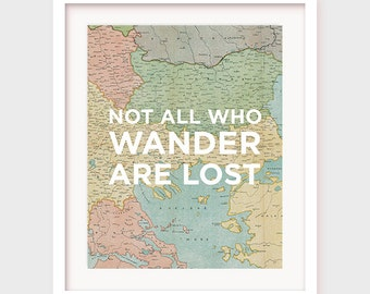 "Printable Travel Art: ""Not all who wander are lost"" travel printable, printable quotes, printable map, travel wall art, printable art"