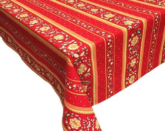 "Red and Yellow Tablecloth, Red Floral Tablecloth, French Country Tablecloth, ""Vence"""