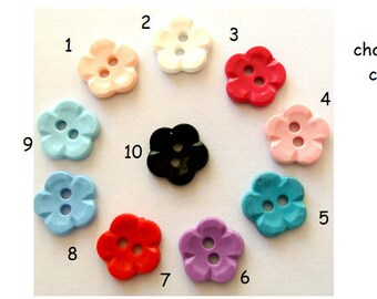 10 Vintage flowers buttons 14mm, sweet buttons-choose color
