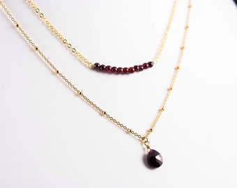 Garnet Layered Necklace, Two Layer Necklace, Delicate, Dainty Necklace, Fine Gold Plated Satellite Chain