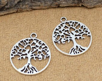 20pcs Antique Tibetan Silver Tree of Life Charms Pendant 2 Sided 29x25mm C1282-Y