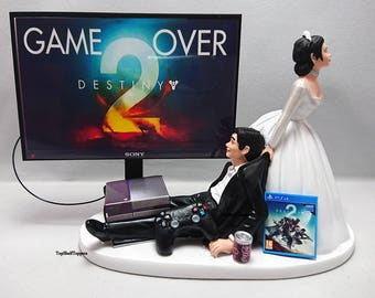 Wedding Cake Topper  Funny DEST2 Game Over Xbox One/PS4 Custom