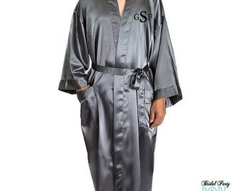 Mens Embroidered Satin Robe, Monogrammed Mens Robe, Ankle Length Mens Robe, mr robe, grooms robe, personalized mr robe, getting ready robe