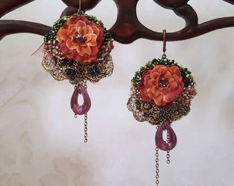Floral earrings, blossom earrings, Boho lightweight romantic lace earrings, shabby chic earrings, beaded embroidery flower jewelry, women