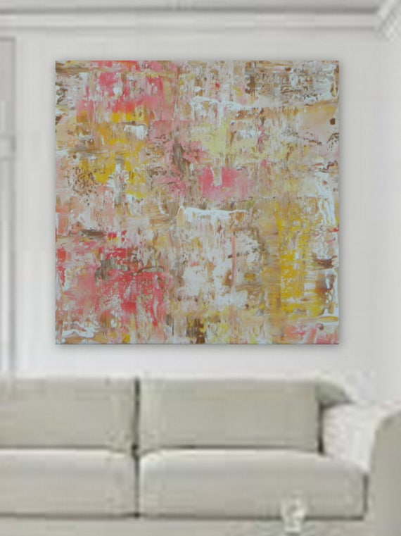 Pink / yellow  Modern abstract painting original acrylic painting on canvas contemporary art design a XL wall art large painting XXL artwork