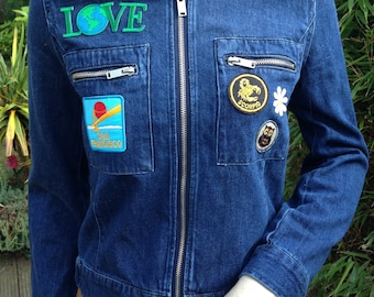 ORIGINAL 60s 70s style hippie denim jacket with patches CND peace & love jacket S M uk 8 10