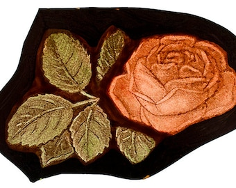 Rose stained glass fragment, classic stained glass, rose, kilnfired stained glass, rose glass painting, vitrail, beautiful stained glass