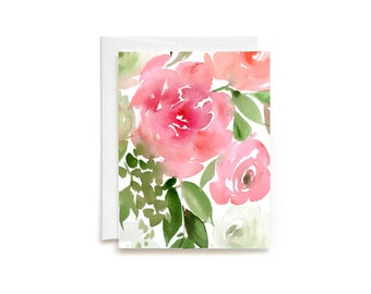 Watercolor Spring Bouquet II Blank Greeting Card