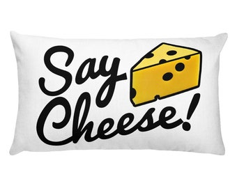 Say Cheese Rectangular Throw Pillow   photographer gift, cheesy quote, word design apartment decor, quirky housewarming gift