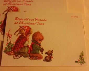 Vintage Greeting Card - Christmas Postcard - Children Praying for Friends - 2 postcards
