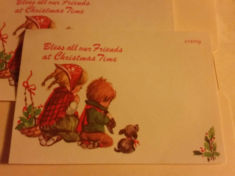 Vintage Greeting Card Christmas Postcard Children Praying