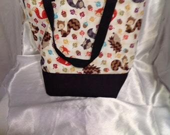 SALE Woodland Animals Insulated Zip-up Lunch bag