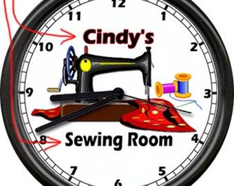 Sewing Room Machine Seamstress Personalized Name Retro Vintage Art Gift Sign Wall Clock