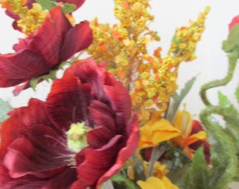 Tuscany Fiesta Poppies with Goldenrod, Lilies and Tulips Silk Victorian Floral Arrangement