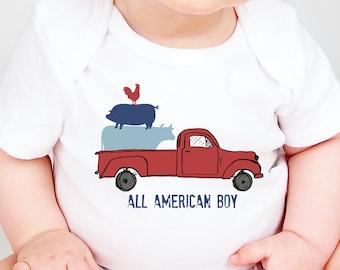 All American Boy Onesies®, 4th of July Onesie, Truck Onesie, Independence Day Onesie, Red White And Blue, Baby Boy Onesie, Memorial Day Baby