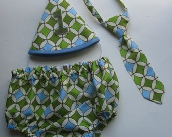 Outfit for First Birthday Party Photos or Cake Smash - Green and Blue Diamonds