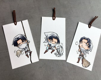 Set of 3 Attack on Titans Levi handmade marker bookmarks
