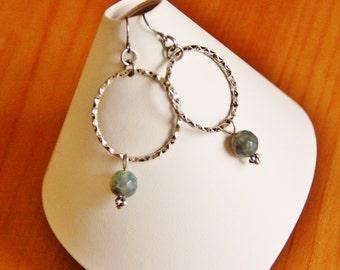Agate earrings, hoop earrings, gemstone earrings, natural stone earrings, hypoallergenic earrings, long beaded earrings, long funky earrings