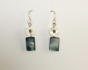 Black and white mother-of-pearl dangle earrings