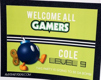 Video Game Birthday Party | Gamer Party Welcome Door Sign | Gamer Party  | LuluCole