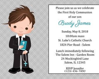 First Communion Invitation - Boy  (Digital File) / Boys First Communion Invitation / 1st Communion Invitaiton Boy / Boy 1st Communion