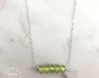 Peridot Bar Necklace ↠ Natural Faceted Gemstone Crystal Pendant, August Birthstone, Handmade Layering Fine Jewelry, Semiprecious Gem Stone