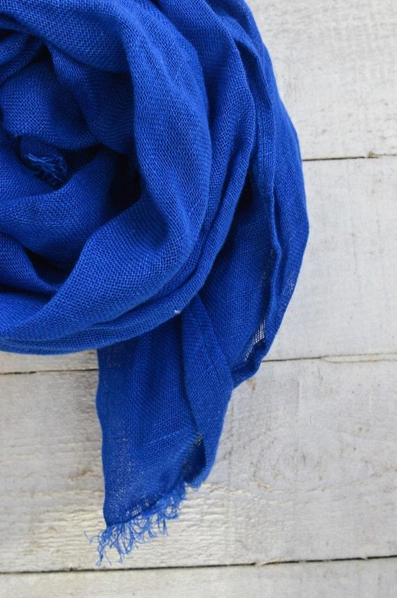 Linen Scarf | Blue Scarf | Blue Linen Scarf | Royal Blue Scarf | Head Scarf | Spring Scarf | Summer Scarf | Bright Color Scarf