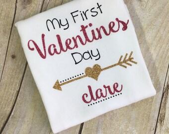 Valentines Onesie, First Valentines, baby girl, Love, Babies First