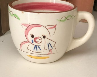 RARE Stangl Pottery Five Little Pigs Kids Mug