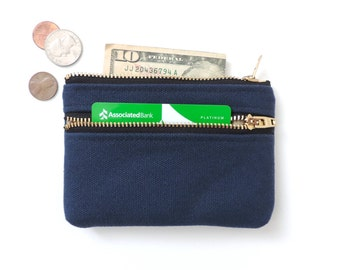 Wallet Coin Purse Double Zip Wallet Pouch Navy Blue Canvas
