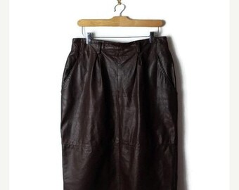 ON SALE Vintage Brown Leather High waist  Pencil skirt from 1980's/W28