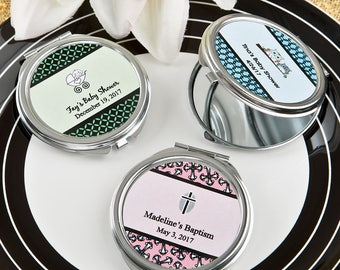 36 Personalized Baby Shower Silver Metal Mirror Compact Favors - Set of 36