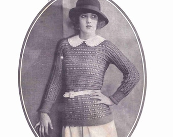 1920s Knit Sweater Pattern The Dentwold Sweater Instant Digital Download Pattern