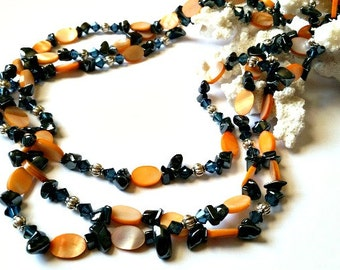 Orange Blue and Black Multi Strand Necklace, Swarovski, Mother of Pearl, Hematite  Necklace, Silver Accents