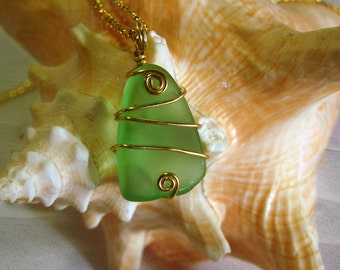 Sea Glass Necklace – Green Sea Glass – Sea Glass Jewelry – Beach Glass Necklace – Seaglass Jewelry -Ocean Jewelry -Beach Necklace -Sea Glass