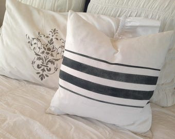 French Grainsack White Linen Pillow with Black Stripes  Farmhouse/Beach Cottage/Coastal/Lakehouse