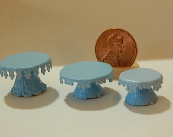 Handmade Medium Blue Pedestal Cake Stand with Crown Edging, Miniature 1:12 scale Dollhouse decor Bakery, Cake Plate Dish Tray