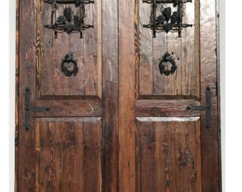 Reclaimed lumber rustic Square top double doors w/ hand forged wrought iron hard ware speakeasy & Reclaimed lumber rustic dutch door w/ hard ware speakeasy