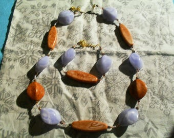 set (necklace and bracelet) classy, modern summer (blue and wood)