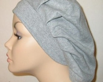 Women's Gray Pleated Snood, Hijab, Hair Loss, Chef Hat