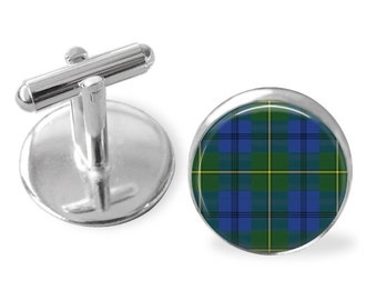 JOHNSTON TARTAN CUFFLINKS / Scottish Tartan Cuff Links / Tartan Jewelry / Personalized Gift for Him / Ancestral Jewelry / Johnston Clan