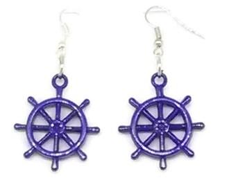 Blue Ship's Wheel Charm Earrings